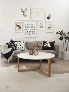 salontafel in Scandinavisch interieur
