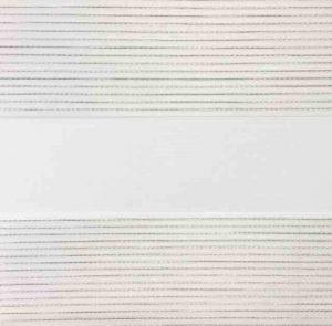wit duorolgordijn met zilver stiksel