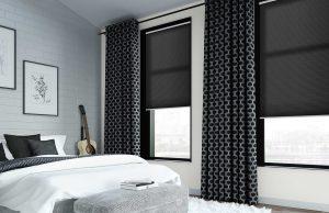 Dubbel plissegordijn 0664 zwart mat