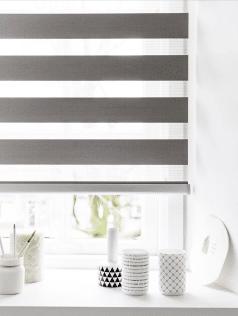 Semi-transparant duorolgordijn grijs in vensterbank