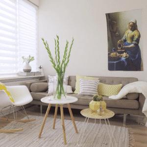 Sfeervolle witte duorolgordijnen in sfeervolle woonkamer