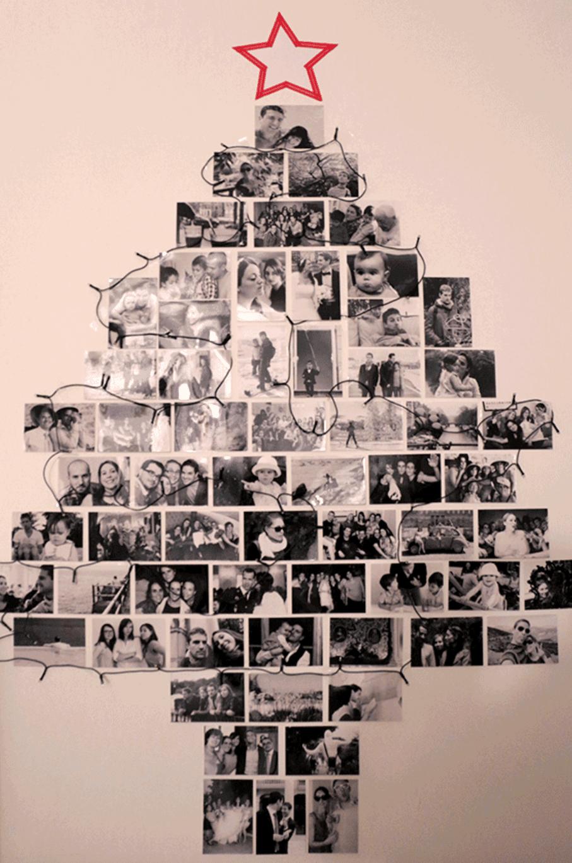 Unieke kerstboom met foto's