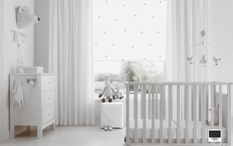 Kinderkamer Gordijnen Sterren : Rolgordijn met sterren voor kinderkamer re rolgordijnwinkel