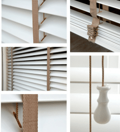 Houten jaloezieen details ladderband en koordknopjes