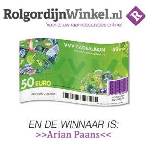 winnaar VVV Cadeaubon Paans