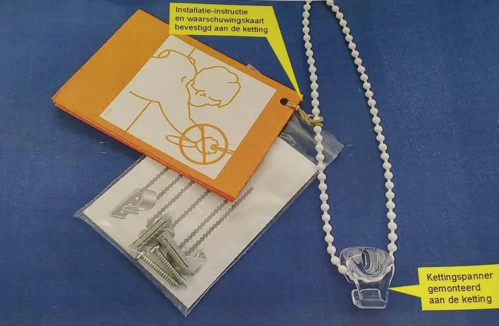Rolgordijnen, duorolgordijn en lamelgordijnen worden geleverd met een ketting enkettingspanner volgens de Childsafety-wet.